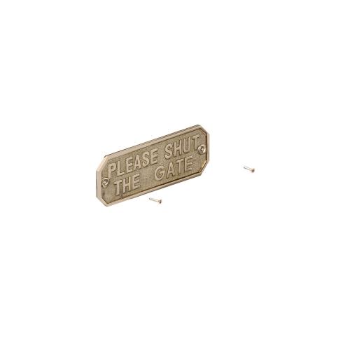 GATEMATE®-'Please-Shut-The-Gate-Sign-160mm-x-55mm-Brass
